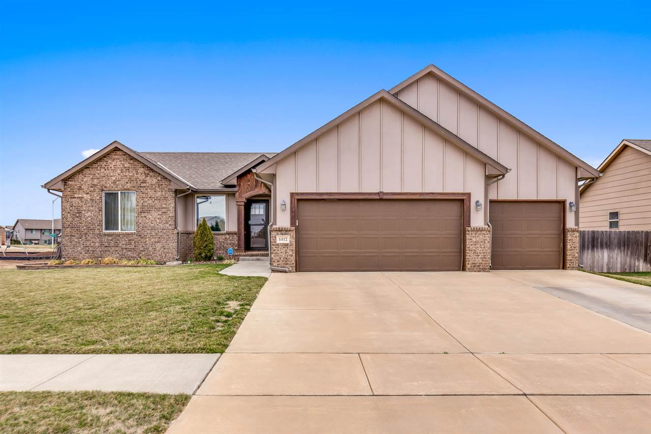 Welcome Home!  2016 Ranch in Stone Creek!  North end of Derby convenient To Spirit, McConnell, Shopping and Restaurants!  Open Floor Plan with Living, Dining, Eating Bar.  Kitchen has a pantry and soft close cabinets.  Walk out to the Entertaining Deck and Lower Patio.  New Privacy Fence and a Shed.  Sprinkler System.  Sump has battery Back-up for added peace of mind.  Home is wired for Cox Home Security with senors on all doors and windows.  Full Finished basement with Wet Bar!