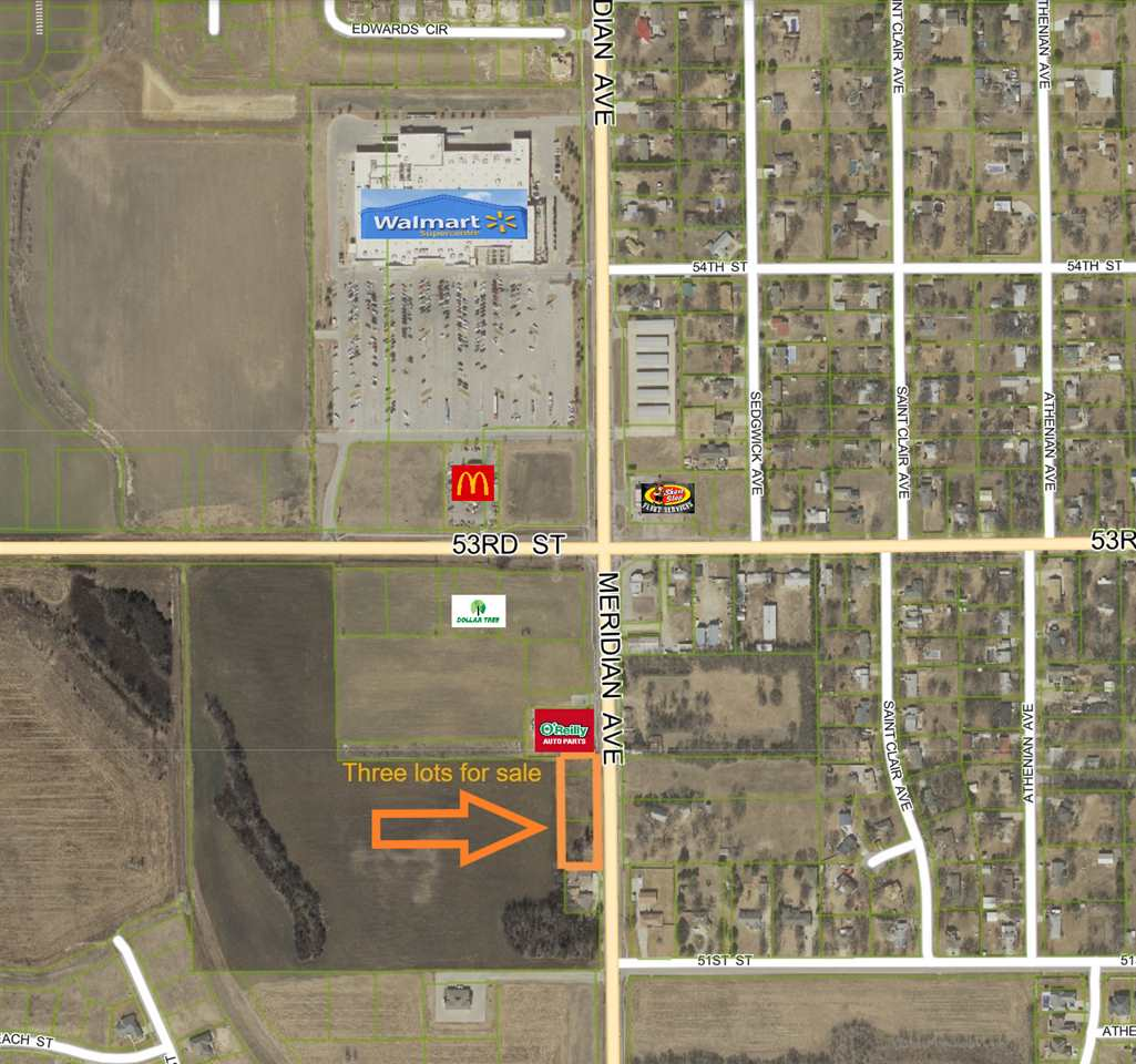 Excellent frontage on a growing part of Wichita! Three lots spanning between the Auto Parts store and the house/shop to the South. There are five approaches currently off Meridian.