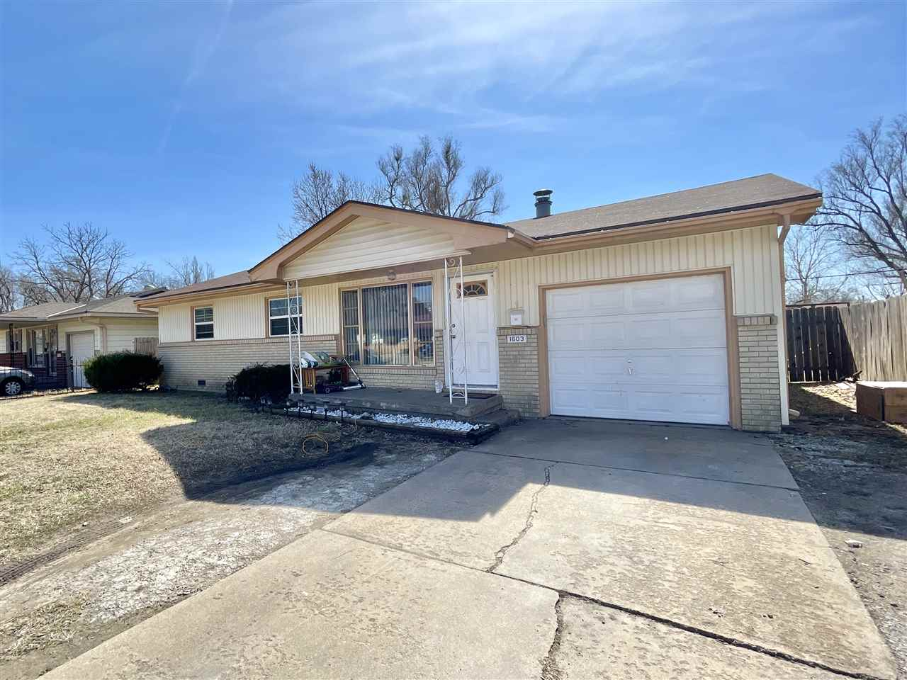 Great starter home or investment opportunity! This property features 3 bedroom 1 bath and a 1 car at