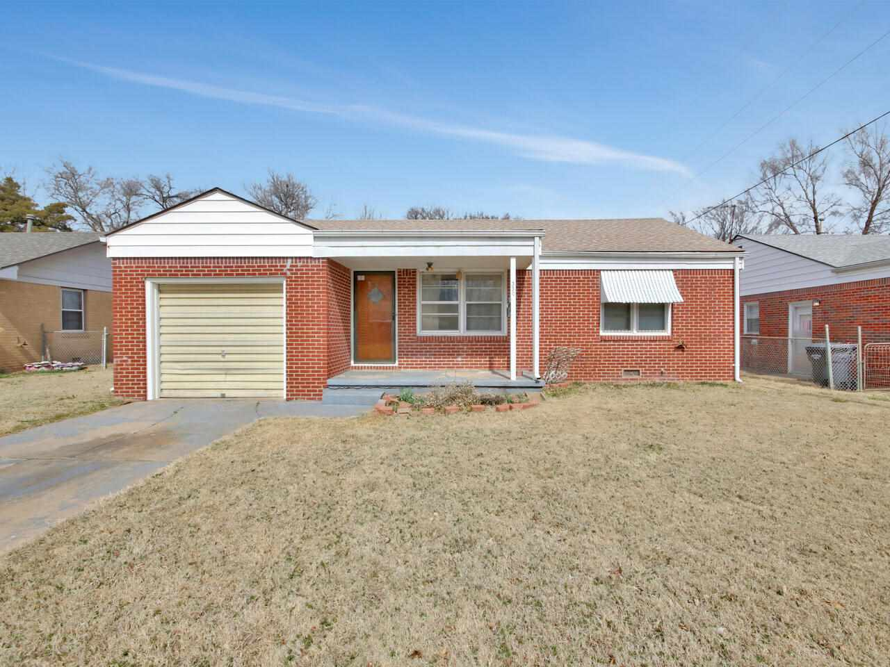 Full Brick home with 2 Bedrooms, 1 bath with Central heat and A/C.  Fenced yard plus a garden spot a