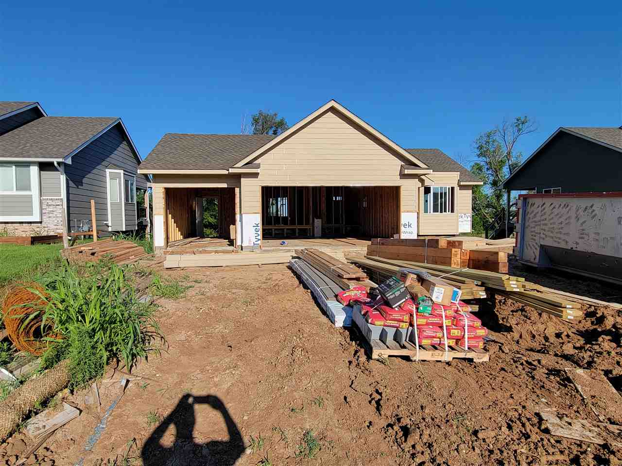 New build with nice upgrades. Granite counter tops. Electric modern looking fireplace, upgraded HVAC system and tankless hot water heater. Basement includes view out windows. Enjoy evenings on covered deck and view of open fields with no neighbors in view just beautiful nature.