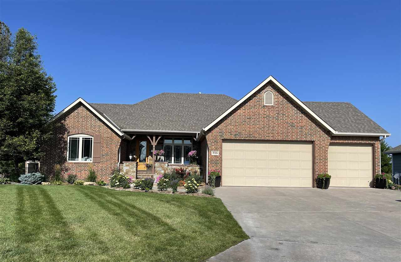 Custom built 5 bedroom, 5 bath Ranch style home has a full walk out basement and a 3 car garage and