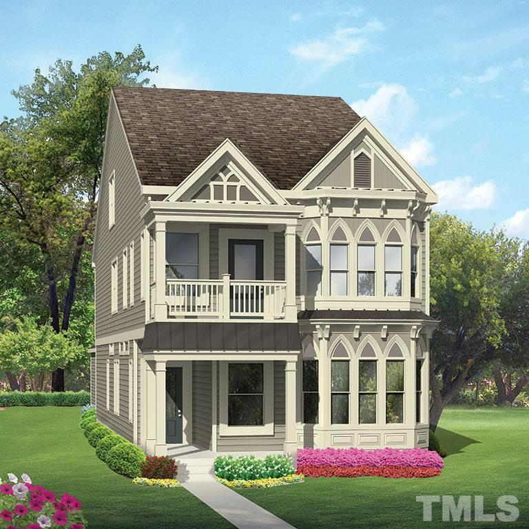 3-story Gothic elevation Calhoun floorplan with guest bed/full bath on main, four beds on second and Rec Room with powder on third.
