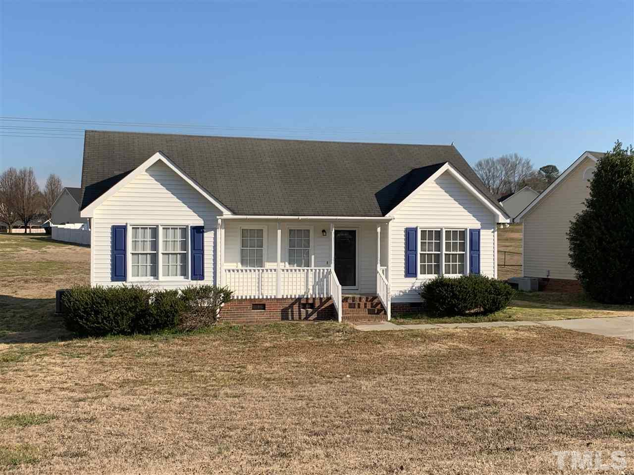 Lovely Ranch home with split floor plan, Cathedral ceiling in Living Room with new carpet fresh paint throughout. Dual vanity in master bathroom. Rocking chair front porch. Large backyard. Great location!