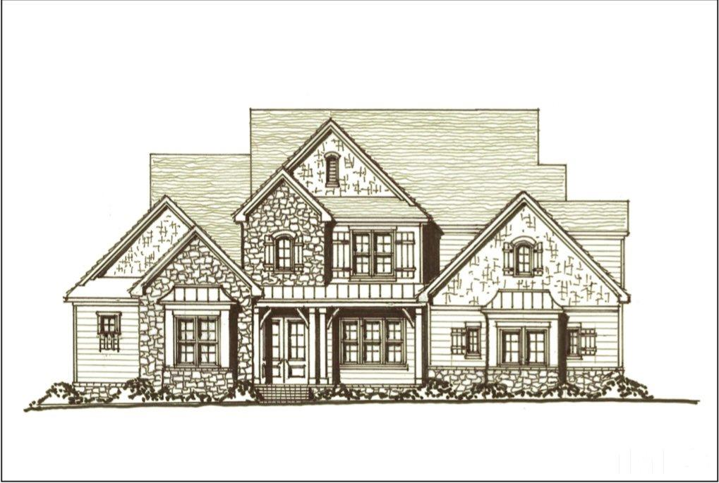 Fall in love with The Franklin! Admire the wood beam ceiling of the great room, the collapsible glass doors opening to the huge porch overlooking the backyard. Off the great room you'll entertain in style with a dedicated wet bar, designer gourmet kitchen with popular hidden walk-in pantry. Master with luxury bath, guest room, and laundry with folding island make main floor living effortless! Large second floor bonus w/wet bar! Two additional bedrooms with private baths and an unfininshed attic space!