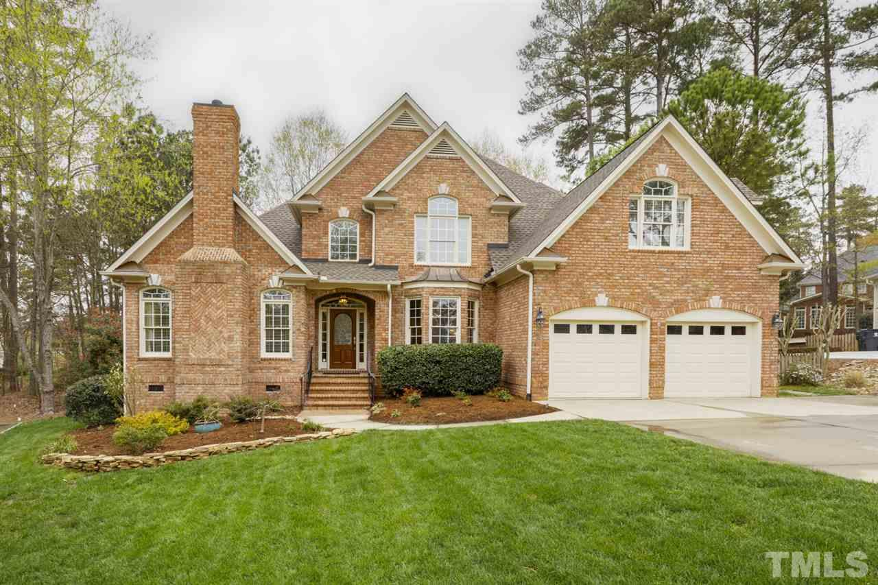 Gorgeous All Brick Home in Cary's Preston! View of Golf Course! Flat CulDeSac Lot w/Fence & Landscape Lighting.  Huge 1st Flr Master Retreat PLUS Main Flr Guest Suite. Refinished Hardwoods/Balusters.  Formal LR/Office has Fireplace & Barn Door.  Gracious Formal DR w/Bay Window. Gourmet Kitchen w/Lrg Island & Breakfast Nook Opens to 2-Story FR w/ Stone Fireplace & Bar. Screened Porch and Patio. 2nd Flr Bedrms w/EnSuite Baths & Spacious Bonus. Newer Roof. Opt'l to Join Preston Golf/Pool/Tennis/Country Club.