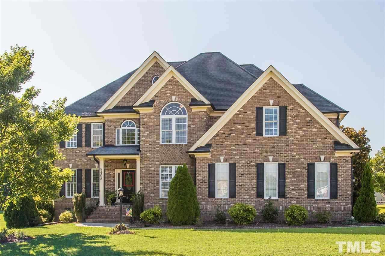Exquisite ALL BRICK 4 BEDROOM/ 2.5 Bth Home on 1.21 ac cul-de-sac lot in Estates At Smith Crossing! COMMUNITY POOL!INSIDE: MASSIVE GOURMET Kit w/ ALL UPGRADES w/HUGE Island OPENS to LARGE Family Rm w/ FIREPLACE! SS APPLIANCES(CONVECTION)!Formal Dining Rm! SEPARATE FORMAL LIVING RM! PRIVATE OFFICE! OVERSIZED MASTER BR w/AMAZING BATH!SPACIOUS BONUS RM! 2-CAR GARAGE! OUTSIDE: Landscaped! SCREEN PORCH! PATIO! FIRE PIT! IRRIGATION SYSTEM!EXTREMELY LARGE BACK YARD! JUST MINUTES from I-540 & 264 & Hodge Rd!